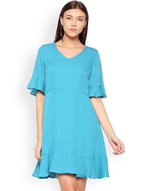 7b857ac88c9d 51%off Allen Solly Woman Women Blue Solid Fit and Flare Dress