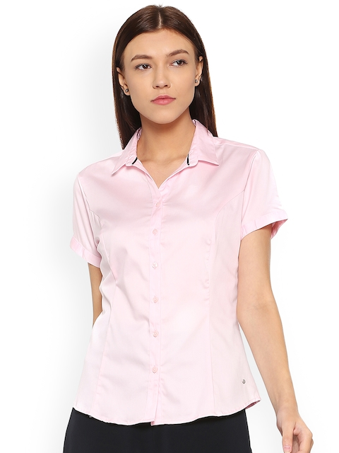 Allen Solly Woman Pink Solid Semiformal Shirt