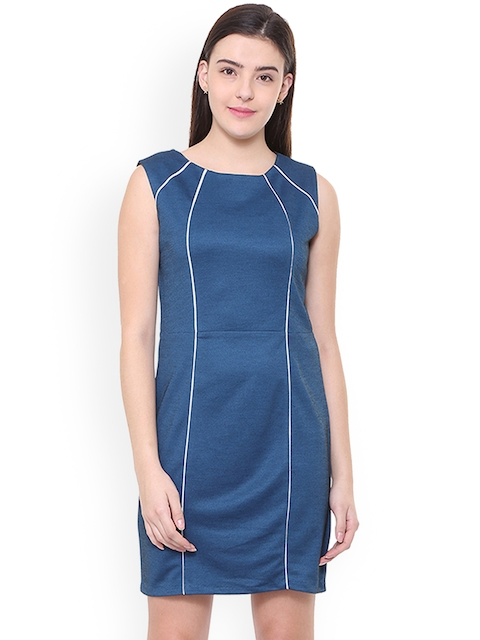 Allen Solly Woman Blue Solid Sheath Dress