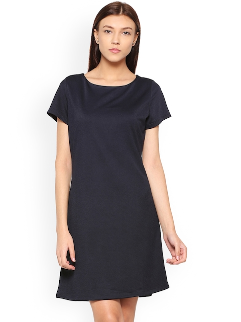 Allen Solly Woman Navy Blue Solid A-Line Dress