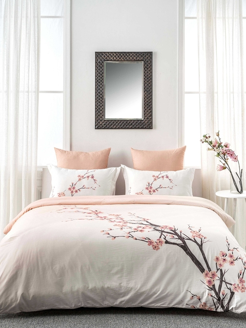 DDecor Peach-Coloured Floral Flat 180 TC Cotton 1 double Bedsheet with 2 Pillow Covers