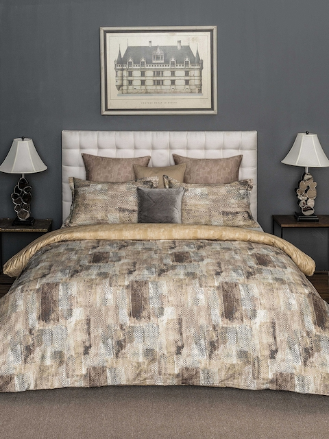 DDecor Brown Abstract Flat 150 TC Cotton 1 Double Bedsheet with 2 Pillow Covers