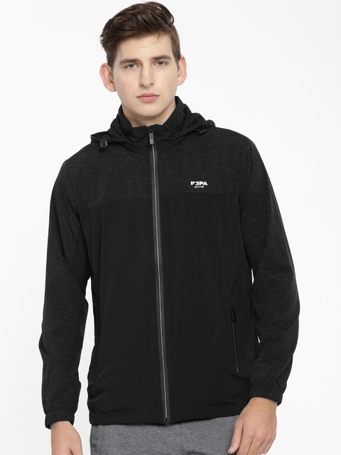 U.S. Polo Assn. Men Active Black Solid Sporty Jacket