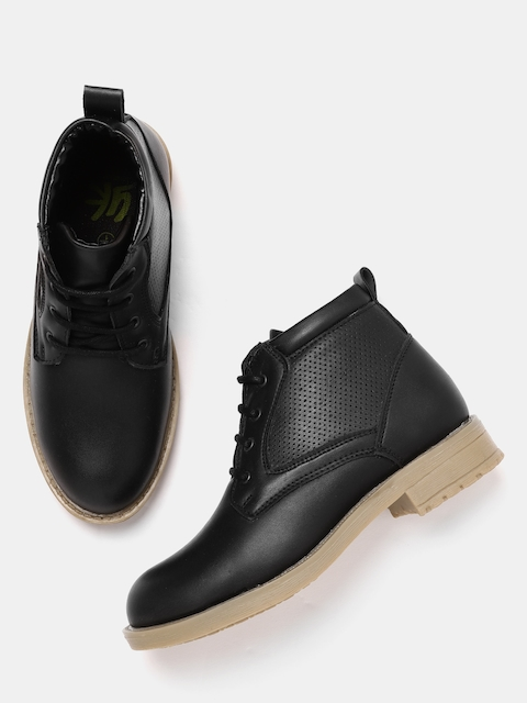 YK Boys Black Mid-Top Flat Boots