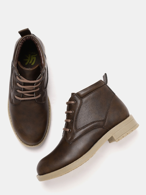 YK Boys Brown Solid Mid-Top Flat Boots