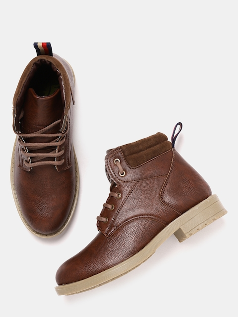 YK Boys Brown Solid Synthetic Mid-Top Flat Boots