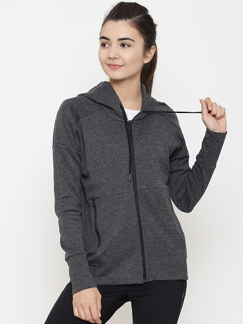 Adidas Women Charcoal Grey ID Stadium Solid Hooded Training Sweatshirt