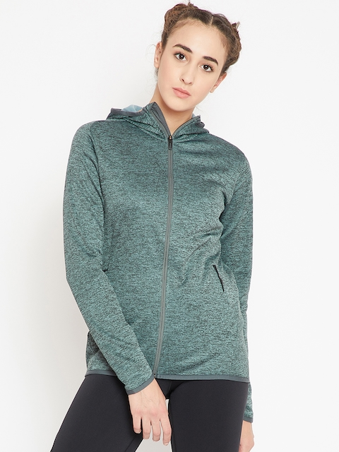 Adidas Women Olive Green Transitional Cover-Up FL CW Hooded Training Sweatshirt