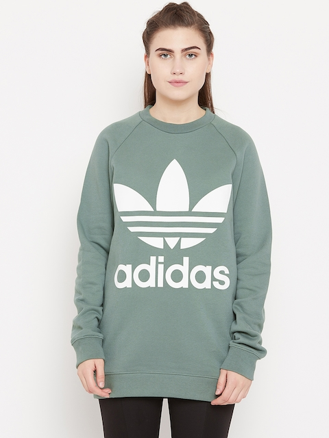 Adidas Originals Olive Green Oversized Printed Sweatshirt