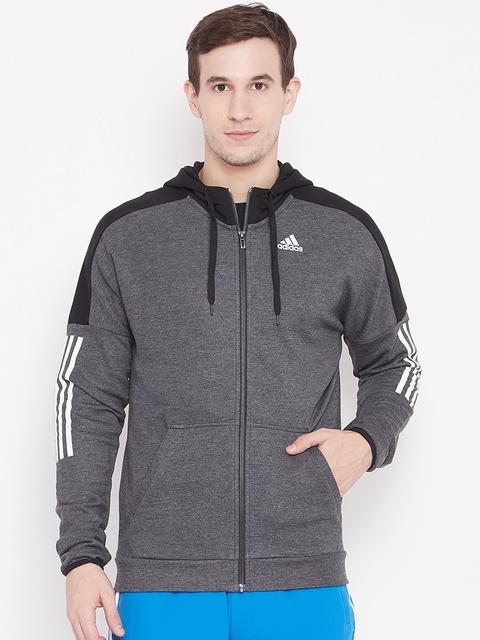 Adidas Men Charcoal Grey SID Logo FZ FT Hooded Sweatshirt