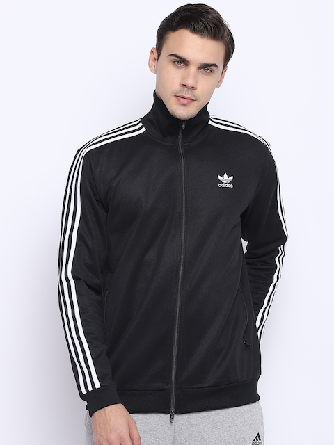 Adidas Originals Men Black Beckenbauer Solid Sporty Jacket
