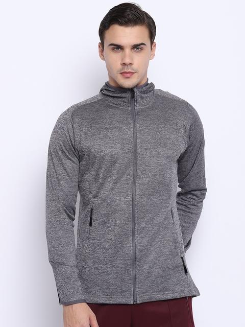 Adidas Men Grey Melange WW FZ Climawarm Hooded Training Sweatshirt