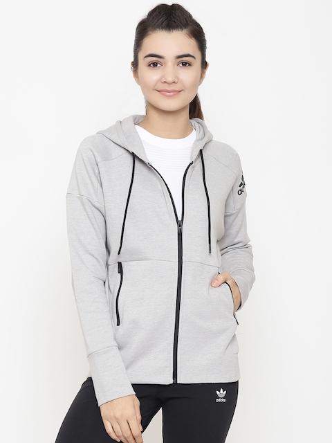 Adidas Women Grey ID Stadium Solid Hooded Training Sweatshirt