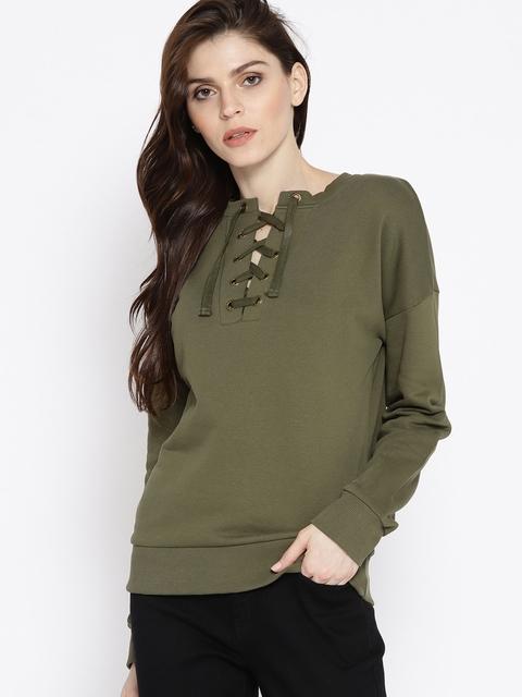 U.S. Polo Assn. Women Women Olive Green Solid Sweatshirt
