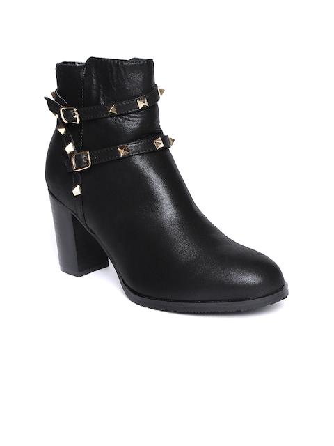 Catwalk Women Black Solid Sheen Effect Heeled Boots