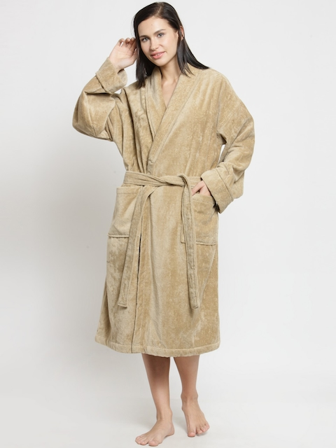 Trident Wave Unisex Brown Solid Robe