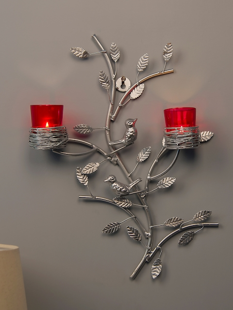 Homesake Red & Silver-Toned Tree-Shaped Candle Holders