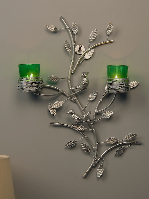 Homesake Green & Silver-Toned Tree-Shaped Candle Holders