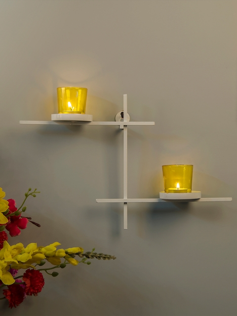 Homesake Yellow Ladder-Shaped Candle Holder with 2 Cups