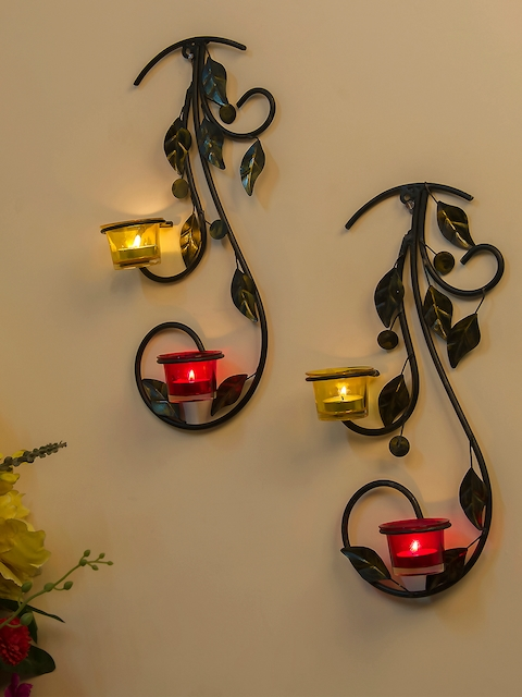 Homesake Red & Yellow Tree-Shaped Candle Holder with 4 Cups
