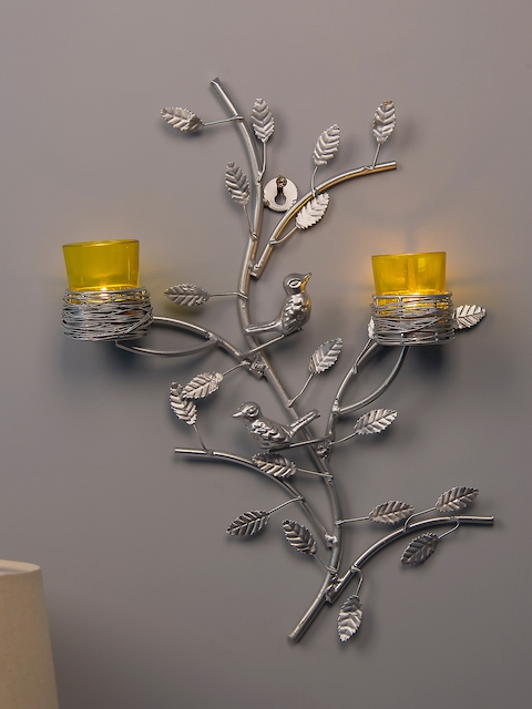Homesake Yellow & Silver-Toned Tree-Shaped Candle Holders