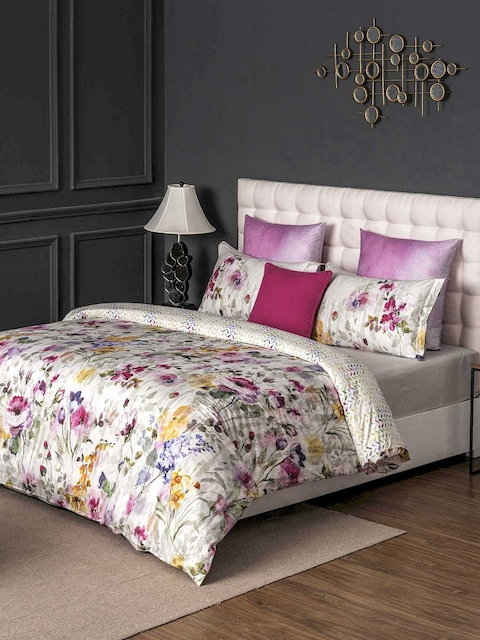 DDecor Pink & White Floral Flat 400 TC Cotton 1 King Bedsheet with 2 Pillow Covers
