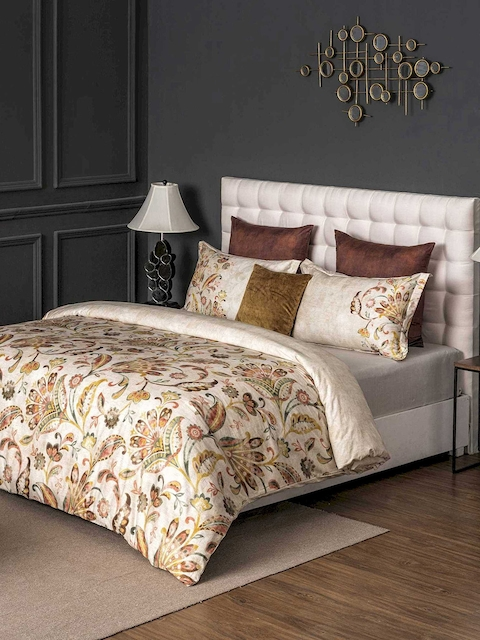 DDecor Yellow & Brown Floral Flat 400 TC Cotton 1 King Bedsheet with 2 Pillow Covers