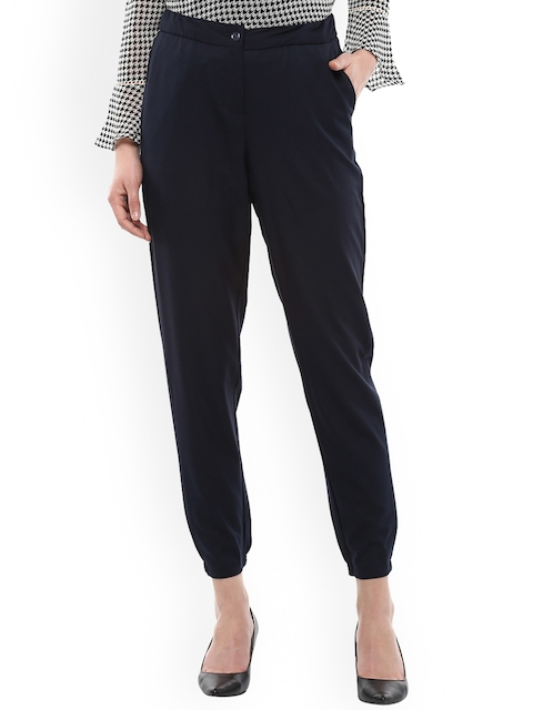 Allen Solly Woman Navy Blue Regular Fit Solid Peg Trousers