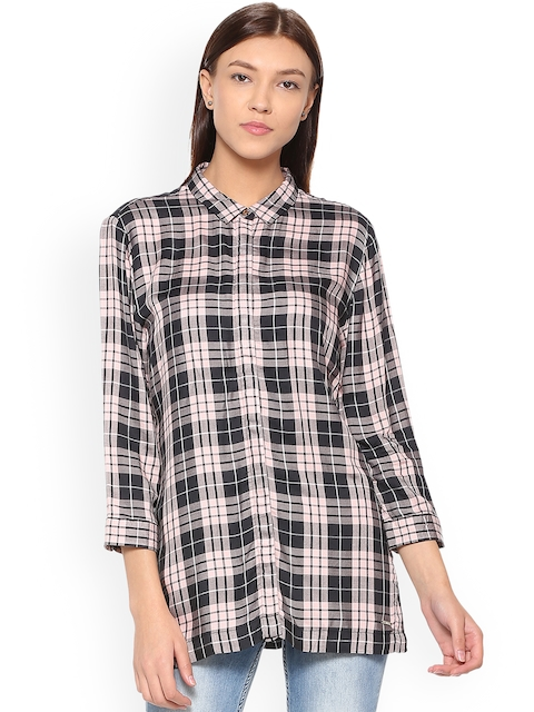 Van Heusen Woman Women Black Regular Fit Checked Casual Shirt