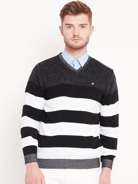 Duke Men Black & White Striped Sweater