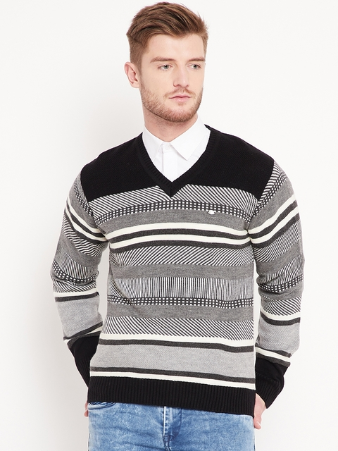 Duke Stardust Men Black & Grey Striped Pullover