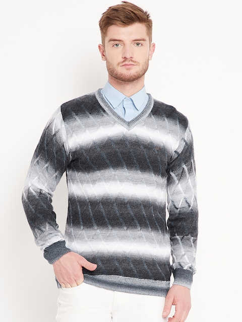 Duke Stardust Men Black & Grey Self-Design Pullover