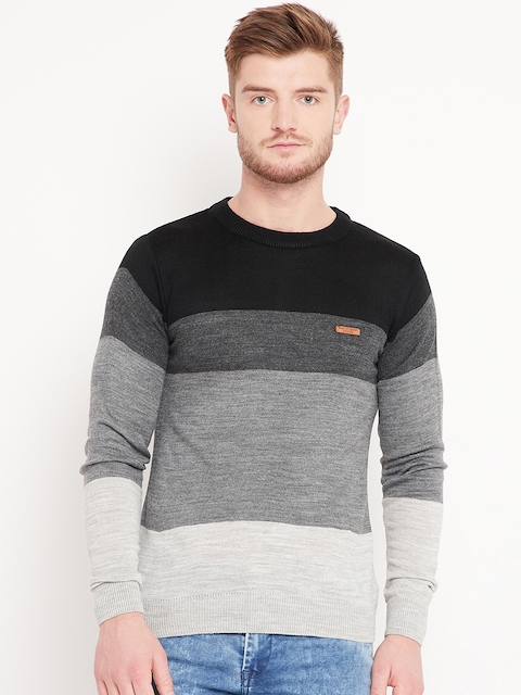 Duke Stardust Men Black & Grey Melange Colourblocked Pullover