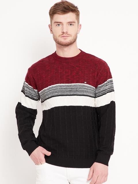 Duke Stardust Men Black & Maroon Colourblocked Sweater