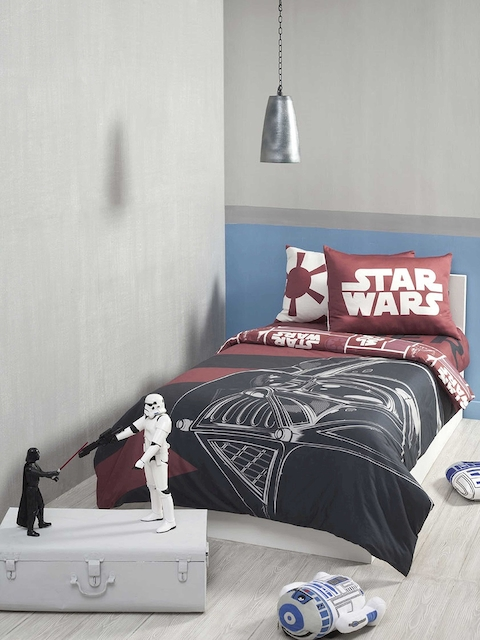 DDecor Red & Black Cartoon Characters Flat 180 TC Cotton 1 Single Bedsheet with 2 Pillow Covers