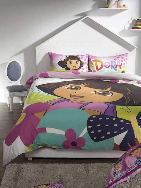 DDecor Pink & Purple Cartoon Characters Flat 210 TC Single Bedsheet with 2 Pillow Covers