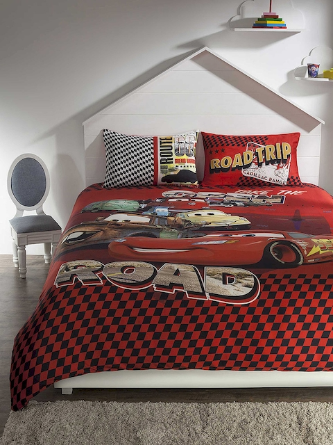 DDecor Red Cartoon Characters Flat 210 TC Cotton Single Bedsheet with 2 Pillow Covers