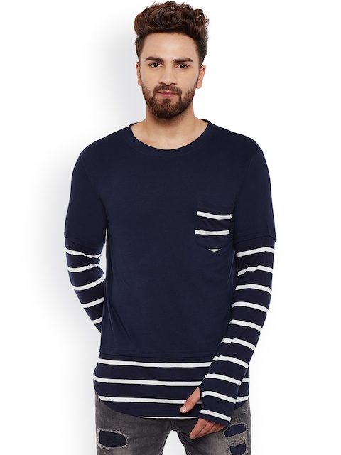 Hypernation Men Blue Striped Round Neck T-shirt