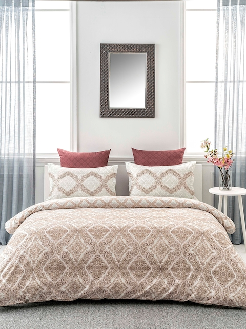 DDecor Brown 160 TC Printed Bedding Set