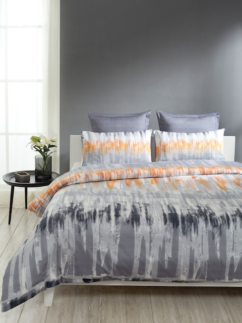 DDecor Grey & White 160 TC Printed Bedding Set