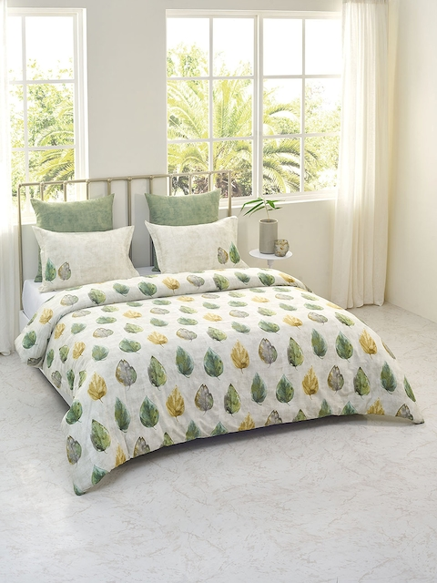 DDecor Green & Cream Cotton Double Bed Cover with 2 Pillow Covers