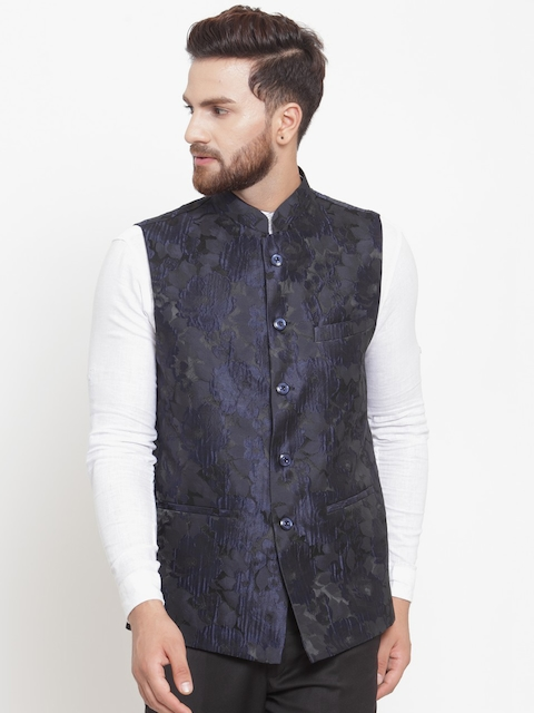 LUXURAZI Men Navy Blue Woven Design Nehru Jacket