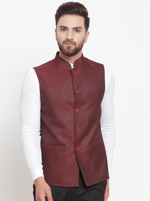 LUXURAZI Men Maroon Woven Design Nehru Jacket