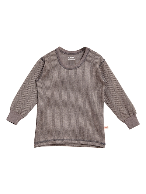 VIMAL JONNEY Girls Grey Solid Thermal Top