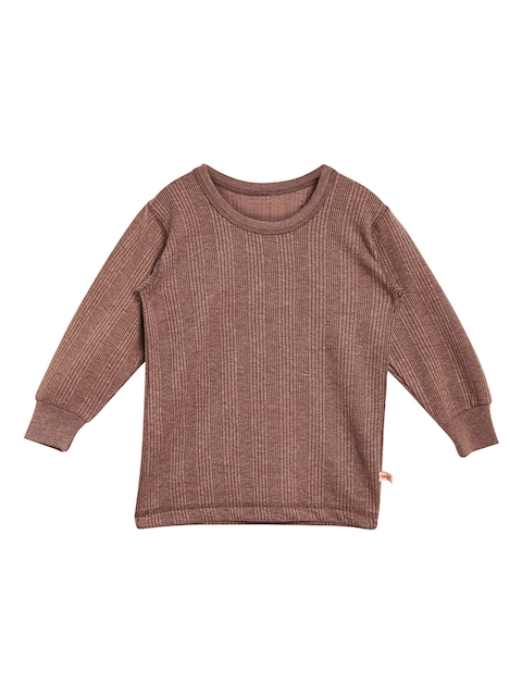 VIMAL JONNEY Girls Brown Solid Thermal Top