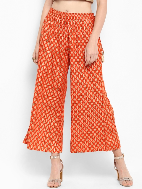 Varanga Women Orange Printed Flared Palazzos