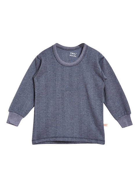 VIMAL JONNEY Girls Navy Blue Solid Thermal Top
