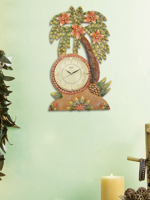 999Store Green & Orange Handcrafted Quirky Textured Analogue Wall Clock