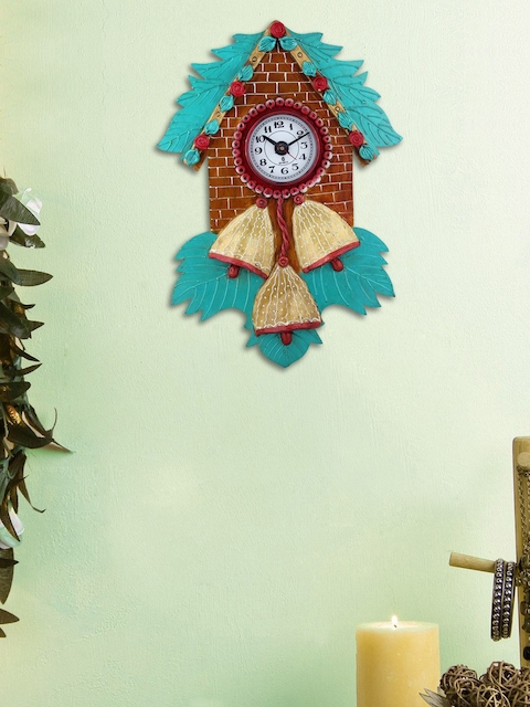 999Store Brown & Blue Handcrafted Quirky Textured Analogue Wall Clock