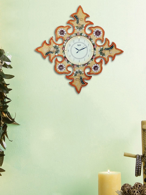 999Store Gold-Coloured & Orange Handcrafted Floral Textured Analogue Wall Clock